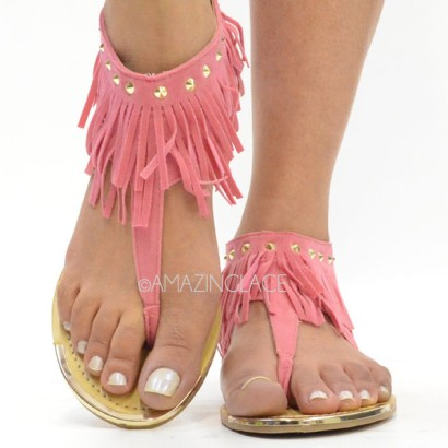 Pink Coral Fringe Ankle Sandals Suede Indian Summer, $24.99