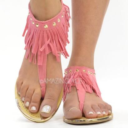 Pink Coral Fringe Ankle Sandals Suede Indian Summer, $24.99