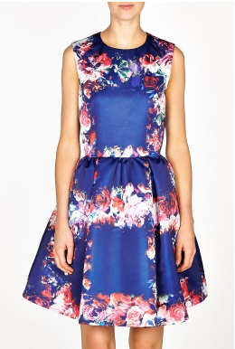 Floral Silk Duchess Dress, $605.01