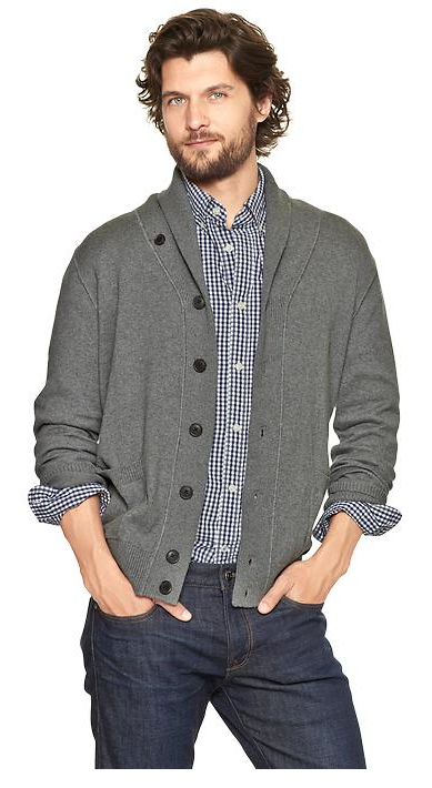 Cotton Cashmere Shawl Cardigan, $59.95