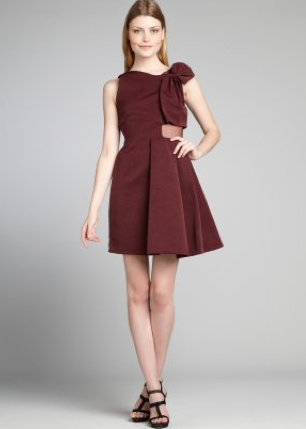 Plum Ribbed Cotton Blend Sheer Silk Paneled 'Ottoman' Dress, $239.20