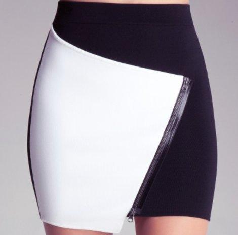 $79, Contrast Asymmetrical Skirt, Bebe