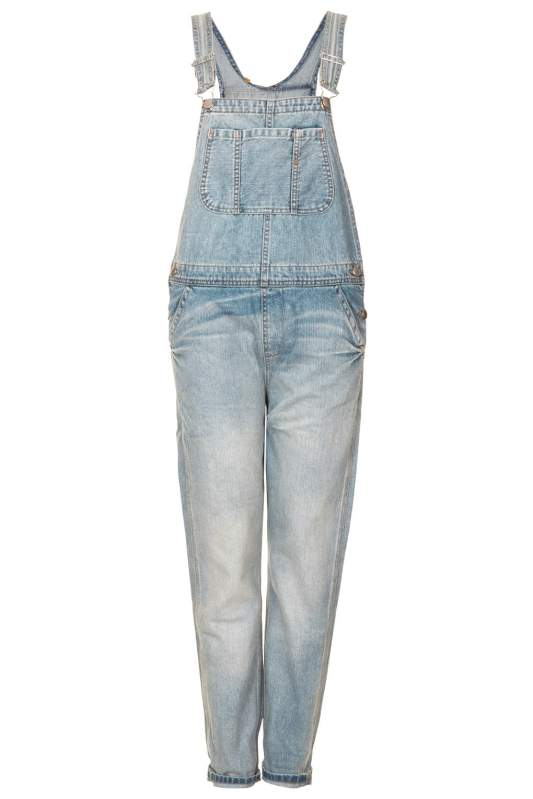 $96, MOTO Bleached Dungarees, Topshop
