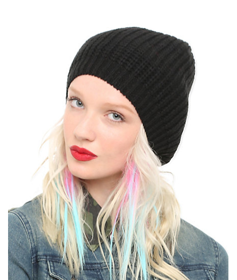 Sale $7.13, Black Knit Slouch Beanie, Hot Topic
