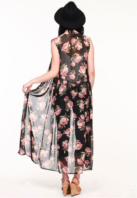 $29.95, Sleeveless Floral Kimono, Love Culture