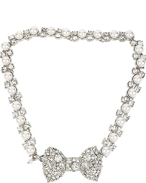 $65, Pretty Pearl Punk Spikey Bow Choker, Betsey Johnson