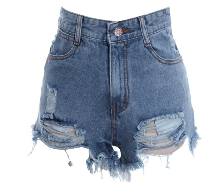 $36.90, High Waist Destroy Effect Shorts, Oasap