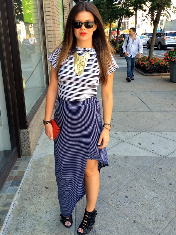 The Look; Top: Burberry, Skirt: BCBG, Shoes: Topshop, Necklace: Goodwill, no name, Wallet: Celine, Sunglasses: Ray-Ban