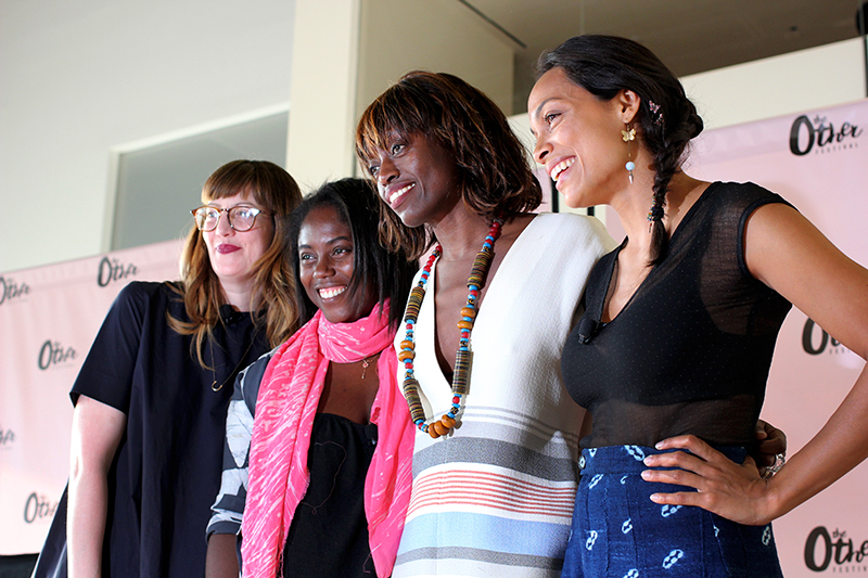 Melissa Giannini, Editor-in-Chief of Nylon; Abrima Erwiah, Rosario Dawson, and Poku