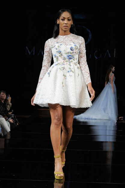 Niche Caldwell walks the runway for Mac Duggal, Spring/Summer 2018